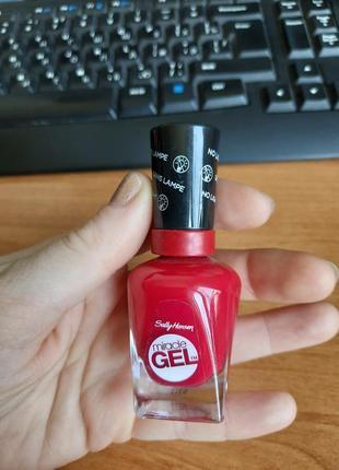 Sally hansenmiracle gel гелевый гель лак для ногтей без uv/ led лампы аоый красный