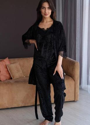 Моднейший комплект из мраморного велюра с кружевом майка+брюки + халат для дома и сна