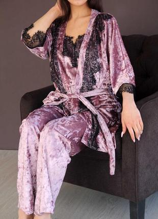 Моднейший комплект из мраморного велюра с кружевом майка+ брюки + халат для дома и сна