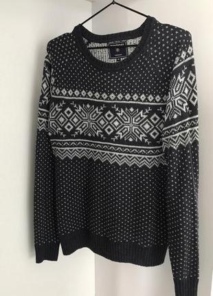 Свитер, зимний свитер, вязаный свитер, темно серый свитер от terranova.