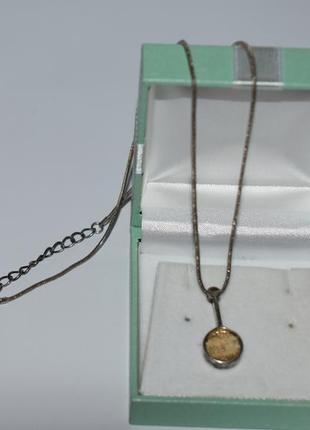 Интересная цепочка с кулоном иероглифы металл глубокое посеребрение винтаж