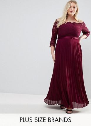 Вечернее платье макси с кружевным топом и плиссированнной юбкой