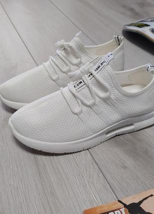 Мужские летние кроссовки белые ☁️