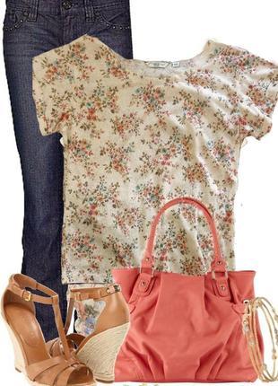 Футболка женская блуза с цветочным принтом р.м\46 new look