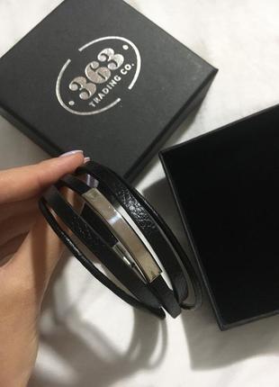 Мужской кожаный браслет 363