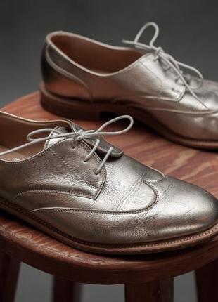 Best of british for m&s. туфли кожаные женские золотистого цвета на кожаной подошве.