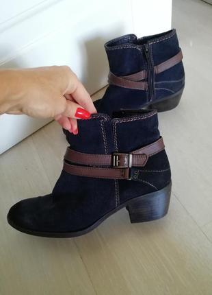 Ботинки замшевые tamaris оригинал чернильного цвета