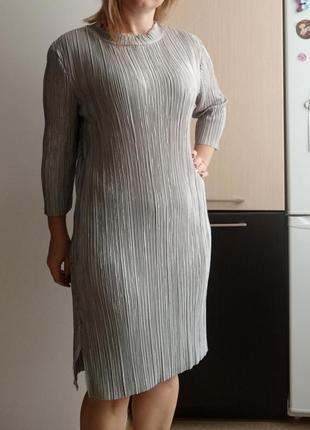 Оригинальное серое платье жатка, гофре, m-l