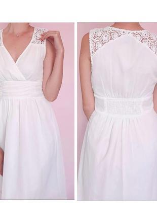 Белое нежное платье с кружевом vero moda
