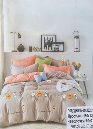 Полуторное постельное белье уточки цыплята, качественное,  в стильном дизайне!