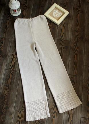 Вязаные штаны в стиле бохо этно на резинке