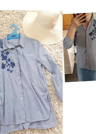 Стильная полосатая блуза с вышивкой, zara,  p. s-m