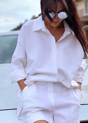 Костюм рубашка свободного кроя шорты