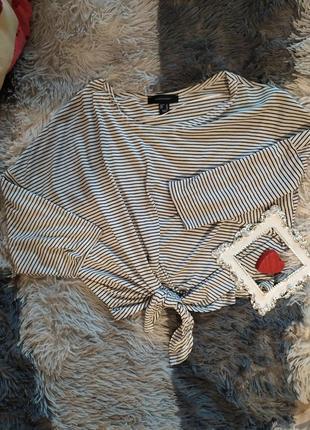 Топ футболка майка кроп укороченая полоска