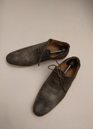 Итальянские замшевые туфли эффект потёртости 42 размера