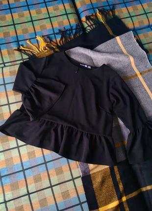 Блуза с баской и пышными рукавами sale