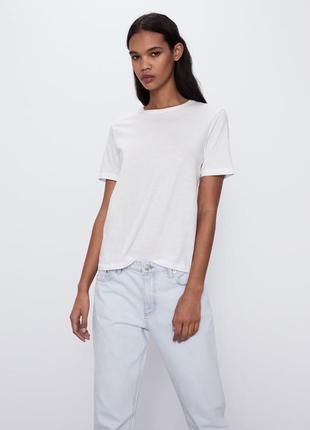 Белая базовая футболка zara