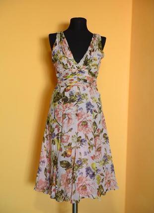 Роскошное романтическое шелковое платье от бренда премиум качества karen millen