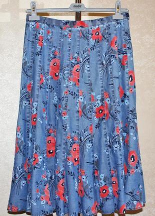 Шикарная джинсовая юбка миди принт красные маки marks & spencer размер 12