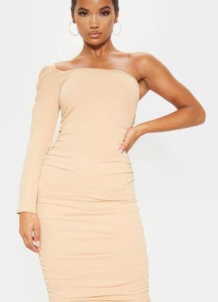 Prettylittlething. товар из англии. платье миди на одно плечо с шикарной драпировкой.