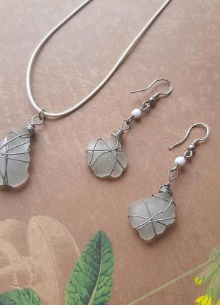 Красивый набор морск стекло ювелир проволк wire wrap ручн кулон подвес серёжк море сереб