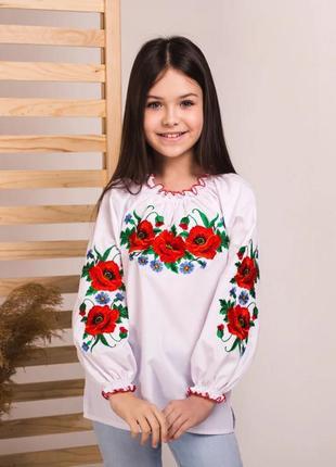 Вышиванка блуза сорочка рубашка для девочки с вышивкой маки