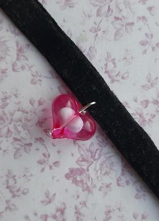 Чокер ожерелье сердце розов подвес сереб фурнитура hand made ручн