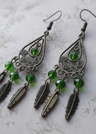 Серьги подвески бохо восточн этно ажурн бронз зелён филигр серёжки медн перо подвес hand