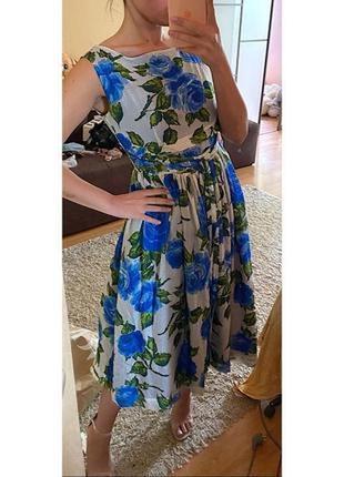 Платье миди в цветочек натуральный шёлк
