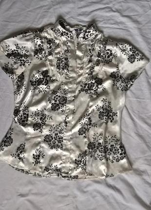 S-m select белая блуза с черным узором