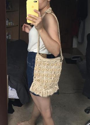 Сумка плетеная летняя с бахромой ноунейм