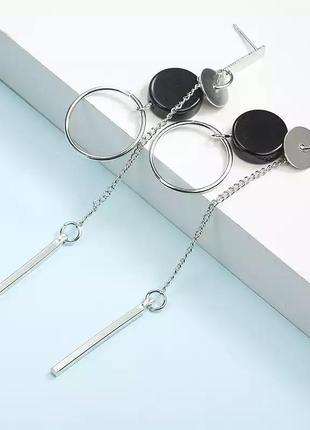 Стильные серьги длинные цепочки подвески под серебро геометрия минимализм кульчики кільця