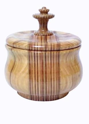 Деревянная круглая шкатулка ручной работы