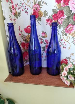 Синяя интерьерная бутылка, синее стекло