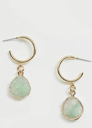 Стильні сережки , серьги с зеленим камінцем 💎з сайту asos