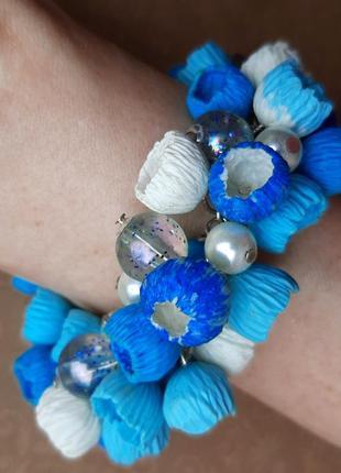 Браслет ручн работ цвет голуб белый цвет колокольчик жемчу цепочк сереб бохо полимер бусин