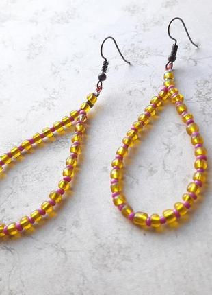 Серьги ручной раб крупный бисер оранжев hand made капл лето серёжки бохо жёлт