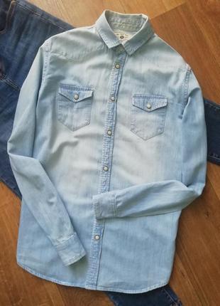 Zara джинсовая рубашка, котоновая рубашка оверсайз , сорочка, блузка