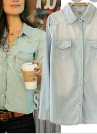 Zara базовая джинсовая рубашка, котоновая, сорочка, оверсайз, прямая, блузка