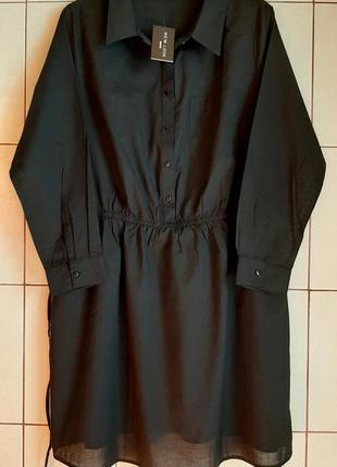 Черное платье-рубашка из тончай вискозы