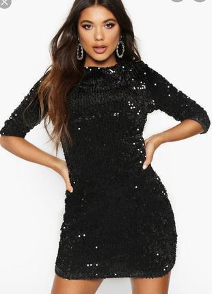 Шикарное мини платье с пайетками и вырезом на спине,