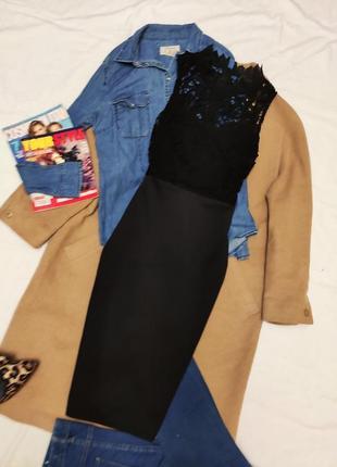 Платье чёрное кружевное миди по фигуре карандаш футляр ax paris