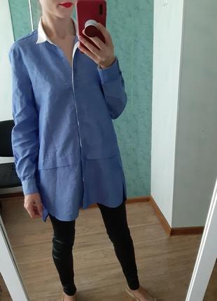 Льняная рубашка, сорочка оверсайз от zara