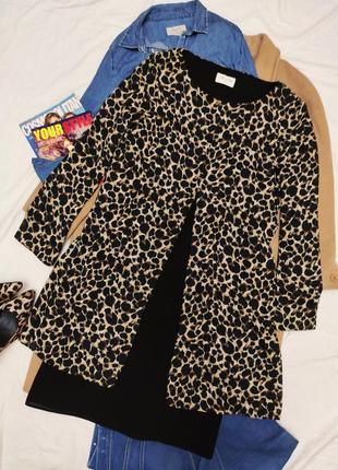 Платье чёрное в леопардовый принт с накидкой shelana
