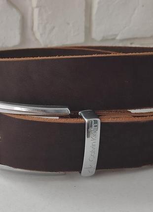 Кожаный мужской коричневый ремень calvin klein