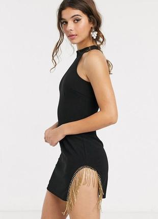 Шикарнейшее бандажное платье asos с бахромой из золотистых цепочек!