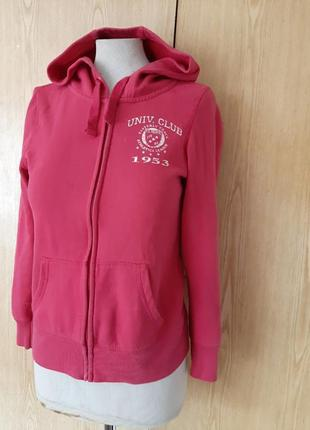 Розовый на флисе хлопковый реглан с капюшоном, олимпийка, кофта, худи, s.