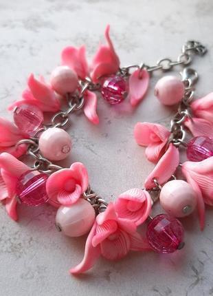 Нежн украшен комплект серьги браслет цветы розов подвес полимерн глин лето серёжки