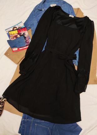 Платье чёрное шифоновое миди с поясом с длинным рукавом f&f большое батал