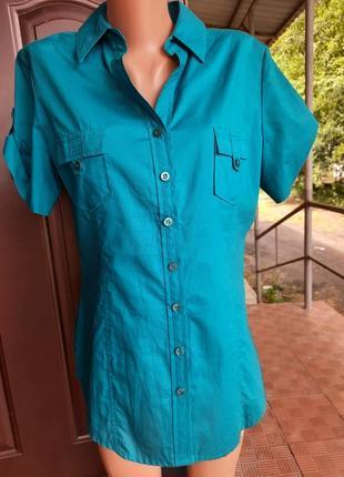Хлопковая рубашка темно бирюзового цвета